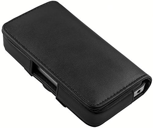mumbi quer Tasche iPhone 4 4S Hülle / horizontal Case (Quertasche) Gürteltasche PASST mit Bumper