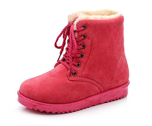 Gaorui Vrouwen Winter Warm Lace Up Faux Suede Bontvoering Platte Enkel Snowboots Schoen Kleur Rood
