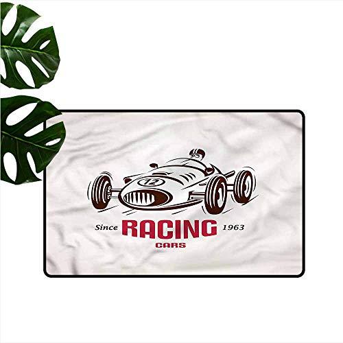 Door mat Cars Retro Race Car Emblem Super Absorbent mud W16 xL24