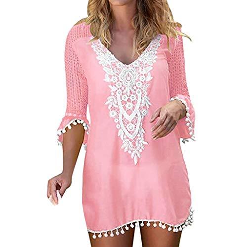 Pengy Woman Lace Trim Swimwear Sexy Tassel Crochet Swimwear Ladies Beach Blouse Cover Up Pink ()