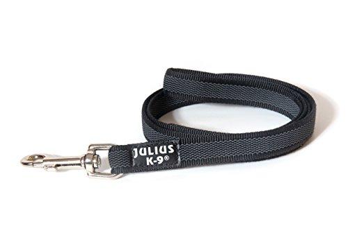 Julius-K9 216GM-1, 2 Color & Gray 07'/20mm 4'/12 m Super-grip leash, max for 110lb/50 kg dog, Black-Gray