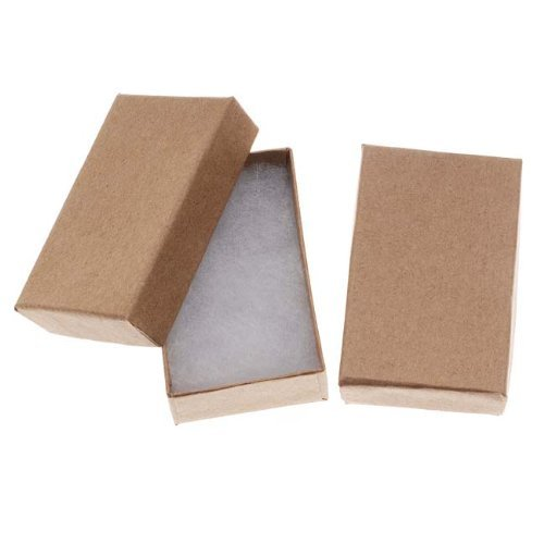 RJ Displays- 20 Pack Cotton Filled Brown Kraft Box for Pocket Watch, Ring, Earring, Necklace Chain Jewelry and Gift Boxes-Size 32