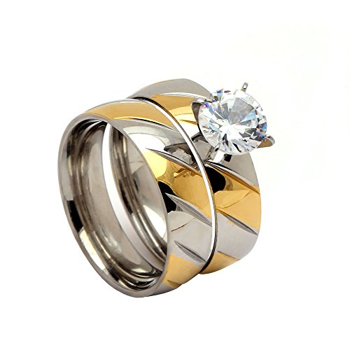 Bree Beautiful 2pcs Stainless Steel Engagement Wedding Ring and Band Set - Ginger Lyne Collection - Wholesale Stainless Steel Rings