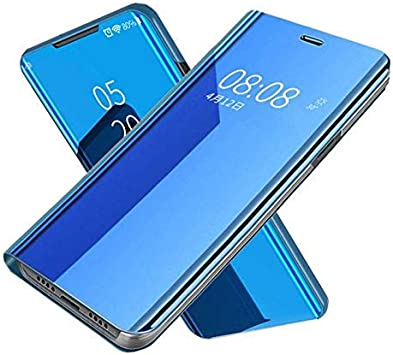 Elica Glass Mirror Flip Cover for Samsung Galaxy A70s - Blue