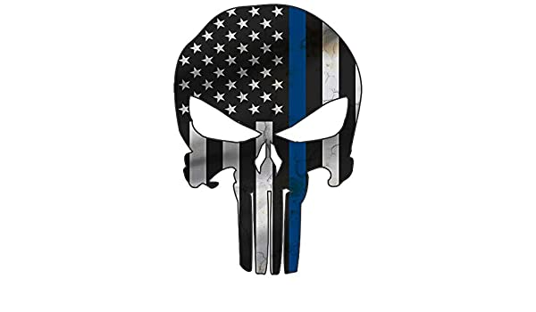 Thin Blue Line Police Punisher Skull Laser CutOut Metal Sign 17Hx12W