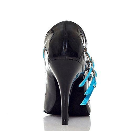 Miyoopark , Damen Tanzschuhe , blau - Black/Blue-10cm heel - Größe: 35