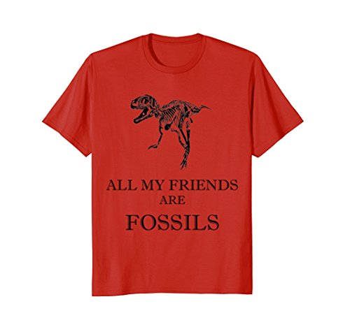 Mens ALL MY FRIENDS ARE FOSSILS T-Rex Skeleton Bone Funny Tshirt Medium Red ()