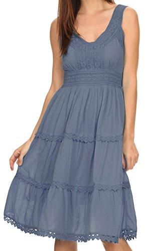Sakkas KD2155 - Presta Roman Sleeveless Lined Tank Top Dress With Emrboidery Lace Design - Grey - (Lightweight Cotton Dress)