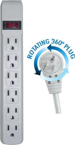CNE76027 25-Feet Surge Protector Flat Rotating Plug 6 Outlet Horizontal Outlets Plastic Power Cord, Gray