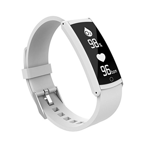 Bluetooth Sports Fitness Smart Watch, Smart Bracelet Activity Heart Rate Tracker Blood Pressure Watch for Android/IOS (White) by FreshZone