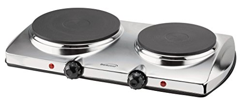 Brentwood TS-372 Electric Double Hot Plate 1440-Watt, Pack of 1, Silver