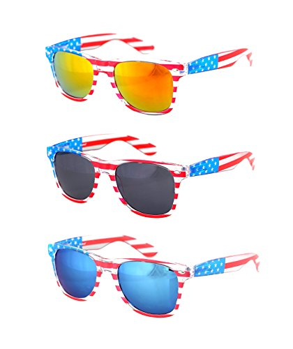 Shaderz Clear American America USA Sunglasses Frame Retro 80's - Combo of ()