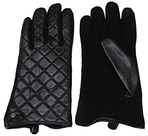 Ralph Lauren Womens Leather Wool Quilted Fingertips Operate Touch Gloves Black Large (Leather Black Quilted Gloves)
