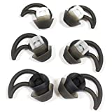 Replacement Silicone Earbuds Ear Buds Tips Eargel Isolation Double Flange for Bose QuietControl 30 QC20 QC20i QC30 Soundsport SIE2 SIE2i IE2 IE3 Wireless Headphones Earphones 3 Pairs S M L (Black)