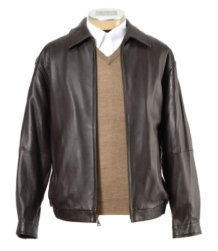 New Jos. A. Bank Lambskin Bomber Jacket (BROWN, X-LARGE REGULAR)