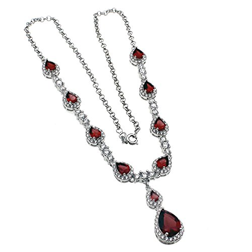 Hermosa Garnet Citrine White Topaz Necklaces Earrings Bracelets Plated Silver Fashion Jewelry Combination Packages (Garnet Necklaces)