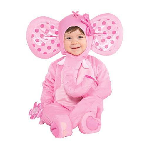 Suit Yourself Pink Elephant Costume for Babies, Size 12 Months to 24 Months, Includes a Jumpsuit, a Hood, and More