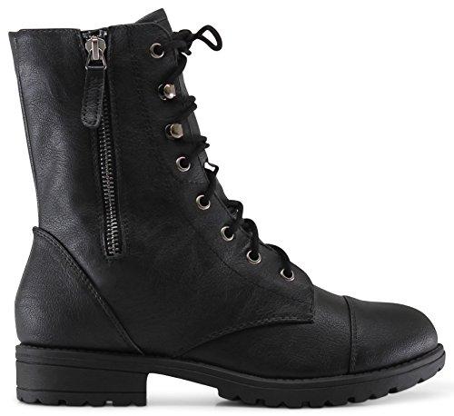 Marco Republic Copenhagen Girls Kids Childrens Mid-Calf Military Combat Boots - (Black) - Toddler 9 (Combat Boots For Teens)
