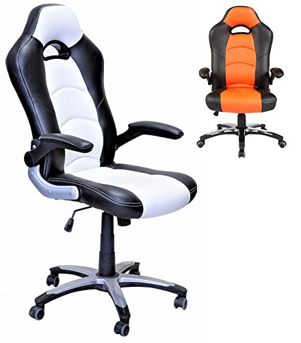 ViscoLogic Series YS-8703 Gaming Racing Style Swivel Office Chair (BLACK/WHITE)