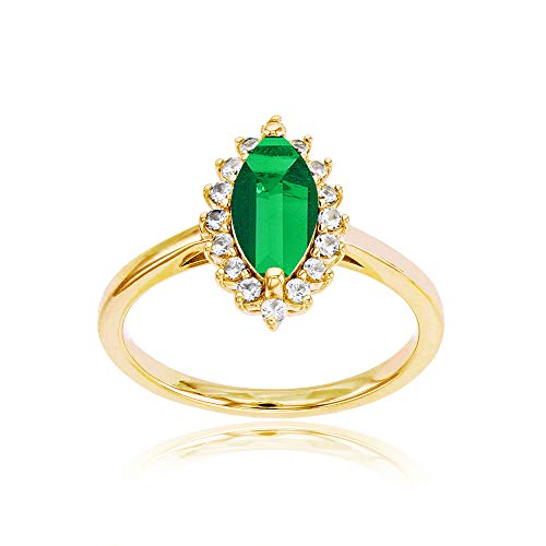 Sterling Silver Yellow 10x5 Marquise Created Emerald & Round Created White Sapphire Ring