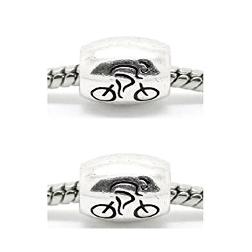 """Two(2) """"Cycle Race London European"""" Charm Beads For Snake Chain Charm Bracelet"""