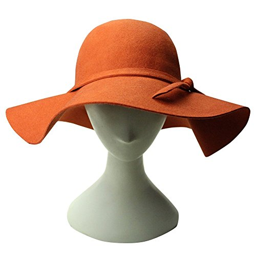 Skydue Women Fedoras Bowler Hats Wool Felt Wide Brim Floppy Bowknot Caps (Orange)