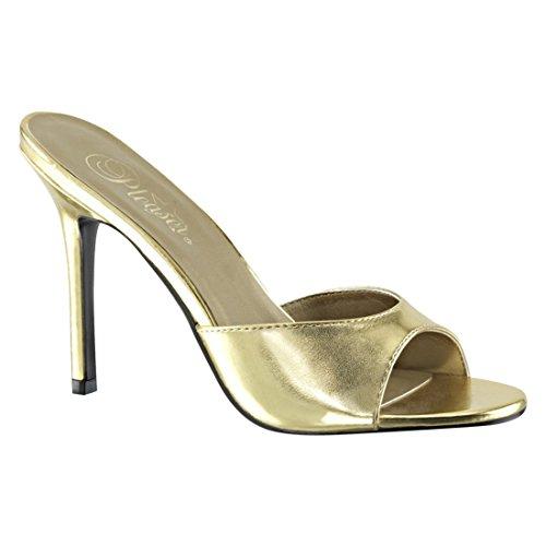 Pleaser Damen Classique-01 Offene Sandalen Gold Metallic Pu