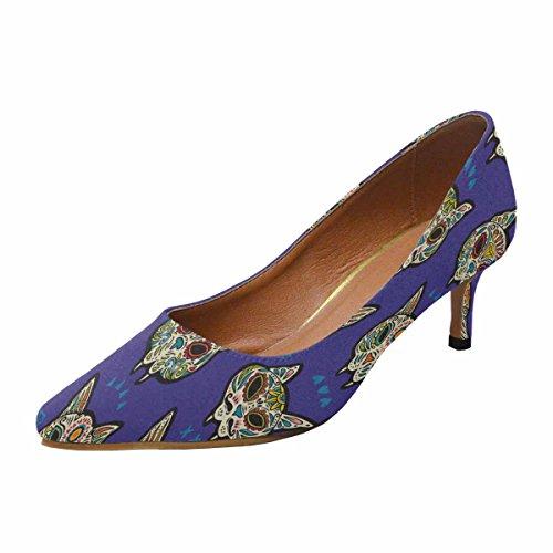 INTERESTPRINT Women's Low Kitten Heel Pointed Toe Dress Pump Shoes Sugar Cat Skulls 6 B(M) -