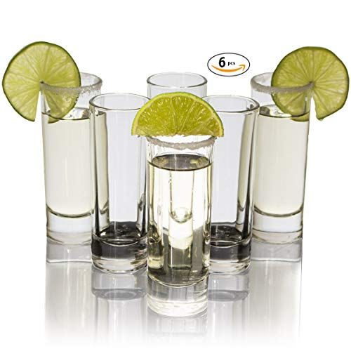 Cutehom Tall Tequila Shot Glasses - Set of 6 Crystal clear Glassware Kit - Tall Shot Glass Set