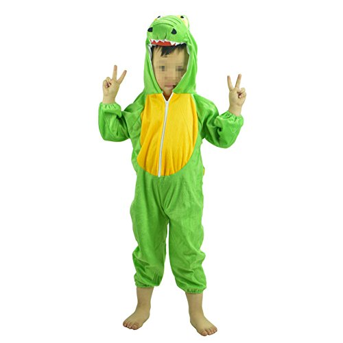Dinosaur Flannel Costumes for Kids (90-100cm) Animal Siamese Clothing]()