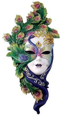 Lady Peacock Venetian Style Carnival Mask Wall Decor