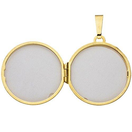 Médaillon à ouvrir-pendentif en or jaune 333 amulette rond-oxyde de zirconium-blanc