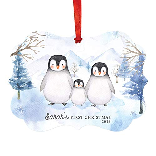 Andaz Press Personalized Baby 1st Christmas Fancy Frame Keepsake Ornament, Sarah's First Christmas 2019, Watercolor Penguin Family, 1-Pack, Includes Ribbon and Gift Bag, Custom Name ()