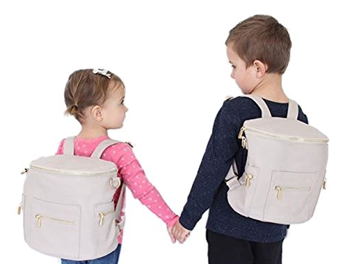 miss fong Mini Backpack by, Toddler Backpack Kids Backpack Diaper Bag for Mom with Insulated pockets, Handle and Crossbody Strap(Grey) by miss fong