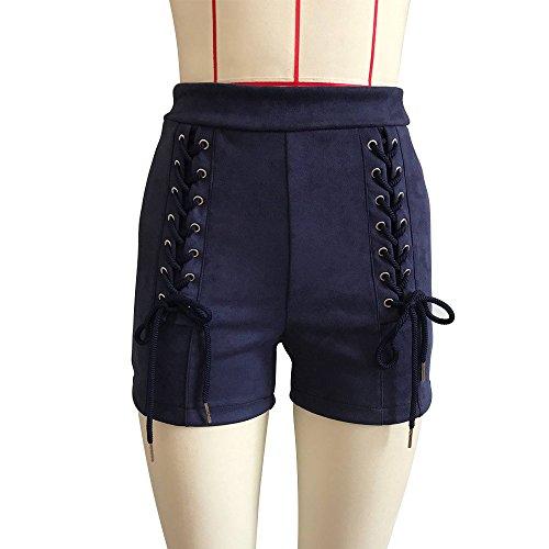 Solido Slinky Blu Allacciatura Shorts Moda Eleganti Ragazza Colore Alta Donna Scamosciato Pantaloncini Corti Vita Vintage Abbigliamento Pantaloni z7wq7OU