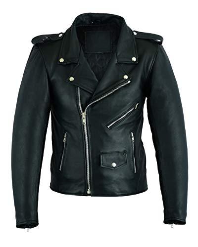 Ruja Men's Classic Cowhide Genuine Leather Motorcycle Biker Perfecto Jacket (2XL) Black (Biker Jacket Leather Cowhide)