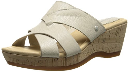 Off Leather Footwear (Hush Puppies Women's Janae Farris Platform Sandal, Off White Leather, 8 W)