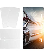 AIEX 4pcs Aluminum Sublimation License Plate Heat Thermal Transfer Vehicle License Plate Automotive Metal Blanks License Plate for DIY Art Crafts Custom Made Design Work (White, 12x6 inch)