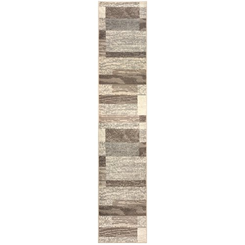 Superior Modern Rockwood Collection Area Rug, 8mm Pile Height with Jute Backing, Textured Geometric Brick Design, Anti-Static, Water-Repellent Rugs - Slate, 2 x 11 Runner