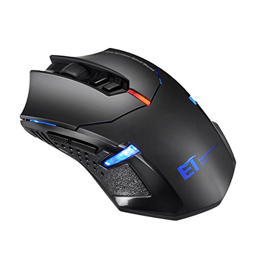 TOMOKO 2.4G Wireless Gaming Mouse, 2400DPI 5 Adjustable DPI Mice, 6 Programmable Buttons for Gamer PC, Laptop, Notebook, Computer, MacBook, Black