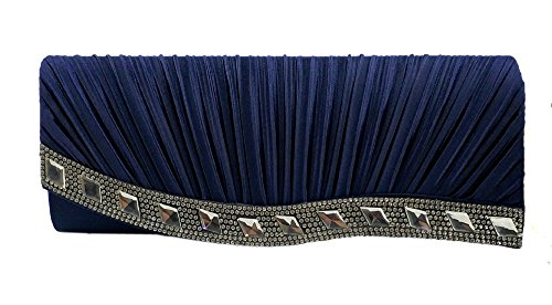 a8facec26a0 AITING Womens Satin Diamante Pleated Evening Clutch Bag Bridal Handbag Prom  Purse (Navy Blue-
