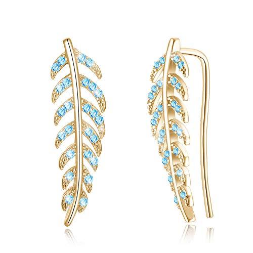 14k Gold Cubic Zirconia Olive Leaf 925 Sterling Silver Earrings Cuff Wrap Climber Ear for Women Crystal Hypoallergenic Blue CZ ()