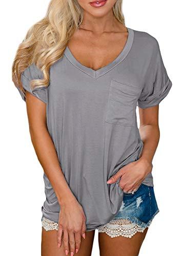 Women Casual Solid Color Short Sleeve Loose Fit Tops V Neck Pocket Cotton Summer Basic T Shirt Grey S