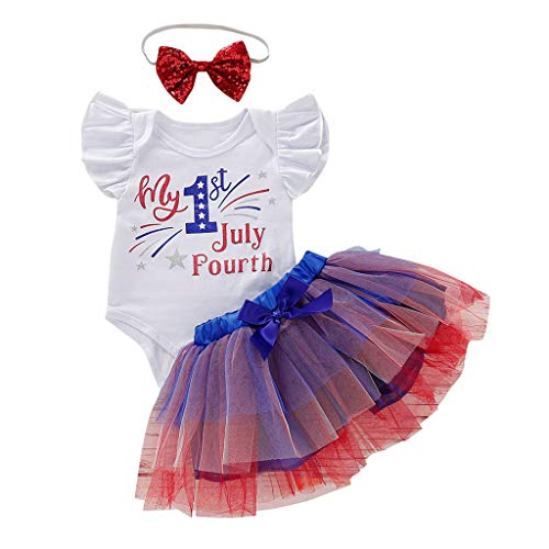 3Piece Toddler Kids Baby Girls Outfits, My First 4th of July Print Romper Top + Bow Tutu Skirt + Headband Clothing Sets Blue -