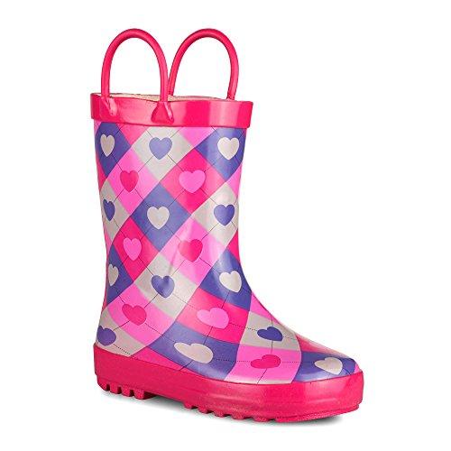 [SBR016P-HEARTPRINT-Y11] Girls Rain Boots: Plaid Heart Print, Kids Boot Size 11