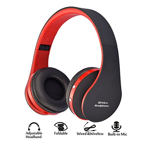 Ashipher Bluetooth Headphones Over Ear, Wireless/Wired Headset Foldable Rechargeable Hi-Fi Stereo Earphones with Built-in MIC 3.5mm Audio Jack for iPhone X/8/7/6 /Android, Laptop/PC (red)