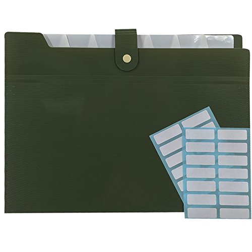 PheoGood 8 Pockets Expanding File Folders with 2 Pack Labels- Fit Letter Size and A4- Military Green Color- Portable Accordion Organizer for School Work, Office Document and Greeting Cards