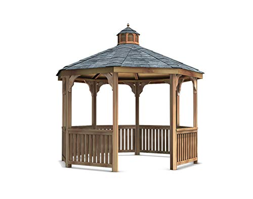 - Fifthroom 12' Octagon Garden Gazebo - Red Cedar Wood Outdoor Furniture Backyard Seating Wooden Exterior Structure Home and Garden C1212