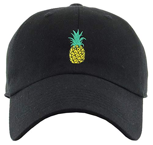 H-214-PINEAPPLE06 Dad Hat Unconstructed Baseball Cap - Pineapple (Black) -