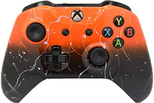Hand Airbrushed Fade Xbox One Custom Controller Compatible with Xbox One (Orange & Black Fade W/Silver Splatter)